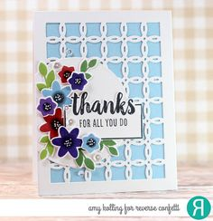 Card by Amy Kolling. Reverse Confetti stamp set: Whole Lotta Thanks. Confetti Cuts: Whole Lotta Thanks and Linked Circles Cover Panel. RC Inks: Brick, Grape Soda, Royal Purple, Baby Blue, Lime Green and Avocado. RC cardstock: Baby Blue. Thank you card. Friendship card.