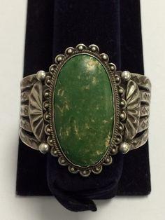 Vintage Navajo Sterling Silver Old Cerrillos Turquoise Bracelet - Circa 1940's