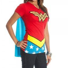 LOVE --- Next Halloween costume?Wonder Woman Caped T-Shirt on www.amightygirl.com