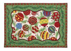 Christmas Ornaments Hooked Rug Sally Eckman Roberts Handicraft Home Linen