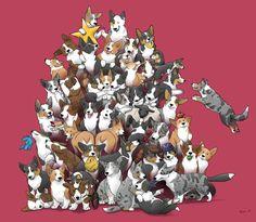 Giant pile of corgis drawn by bigwoofsbigadventure / via