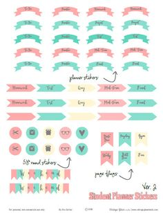 Student Planner Stickers Ver 2 | Free Printable download of Academic Stickers suitable for Erin Condren and other similar planners.