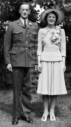 Wartime wedding couple, married in 1942.