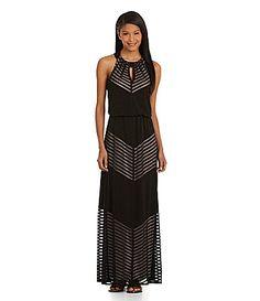 London Times ShadowStriped Maxi Dress #Dillards poly/spandex black sz2 99.00