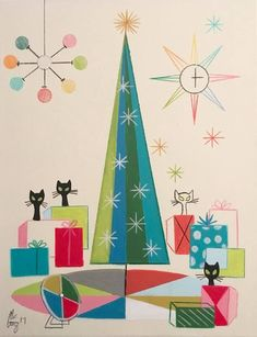 Mid Century Modern style!! Cool Mid Century Modern Yule Christmas card! Artwork Illustration! Be Cool at Yule!