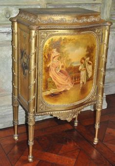 Gold Antique Music Cabinet. #Unknow