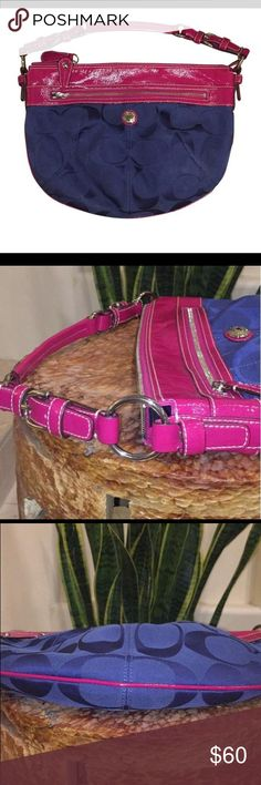 Coach Hobo bag Fuscia/pink patent leather Authentic navy blue coach logo material. Satin interior with zipper pouch and two interior satin pouches. Beautiful bag!! Coach Bags Hobos