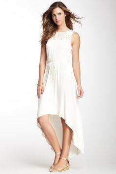Sleeveless Lace Yoke Tie Maxi Dress
