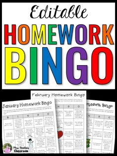 This Homework Bingo activity package from Mrs. Beattie's Classroom includes NO-PREP and EDITABLE versions!