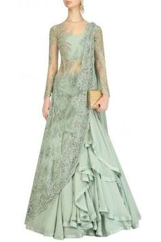 Gaurav Gupta presents Apple green embroidered lehenga sari available only at Pernia's Pop Up Shop. Indian Gowns, Indian Attire, Pakistani Dresses, Indian Outfits, Indian Designer Outfits, Designer Dresses, Ethnic Fashion, Indian Fashion, Lengha Saree