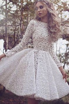 prom dresses, white lace party dresses with long sleeves , bateau a-line short prom dresses