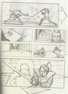 Storyboards of Star Wars prequel