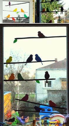 Colored sparrow and branches silhouettes on windows - Cute DIY Window Decorating Ways Sure To Amaze You