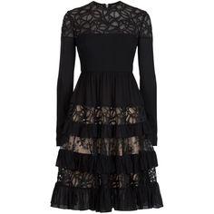 Elie Saab Long Sleeve Tiered Dress (4'290 CHF) ❤ liked on Polyvore featuring dresses, elie saab, lbd dress, little black dress, tiered dress, round neck dress and red black dress