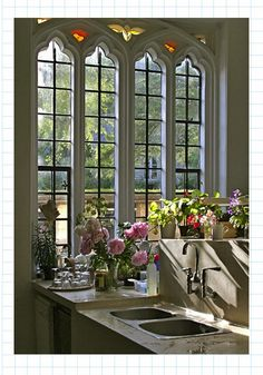 great old church windows in the gothic style... repurposed with modern flair...