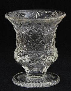 Daisy and Button Clear Glass Footed Urn Shape Toothpick / Match Holder