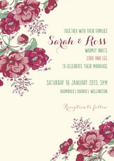 Bella Rose Invitation Front | From Cocoa Berry Design | Recommended for you by www.astrabridal.co.nz |