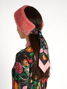 Flora snake-print silk and mink-fur headband
