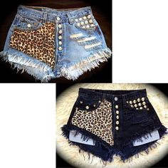 Promoción de Remache Pantalones Cortos - Compra Remache Pantalones ... Diy Jeans, Denim Fashion, New Fashion, Vintage Fashion, Dope Fashion, Basic Outfits, Sporty Outfits, Harley Davidson Womens Clothing, Ripped Jeans