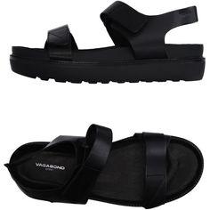 Vagabond Sandals (830 SEK) ❤ liked on Polyvore featuring shoes, sandals, black, black shoes, flat leather sandals, flat shoes, vagabond shoes and black leather sandals