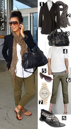 Green baggy capris, white tank, knit scarf and blazer with top knot hair style