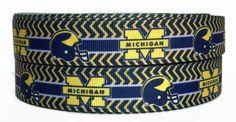 7/8 Inch Grosgrain Michigan University Ribbon, Michigan Ribbon, Sports Ribbon, Sports Grosgrain, Ribbon By The Yard by KC Elastic Ties