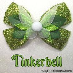 Tinkerbell hair bow by Magical Ribbons Ribbon Hair, Ribbon Bows, Ribbon Flower, Ribbons, Tinkerbell Party, Broches Disney, Disney Crafts, Disney Diy, Deco Disney