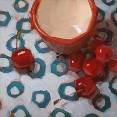 """""""Cherry-o's"""" by Carol Marine. Gorgeous colors. . . love the blue pattern on the table cloth with orange-red fruit."""
