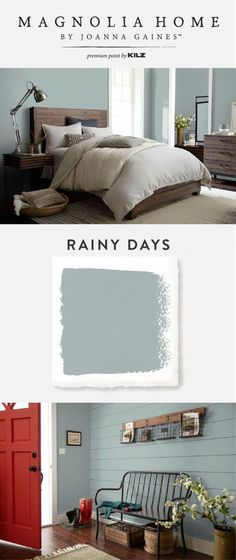 The light blue-gray hue of Rainy Days, from the Magnolia Home by Joanna Gaines™ Paint collection, is versatile enough to be paired with a variety of color palettes. Use pops of bright color, like this red front door, to give this chic interior paint color Casa Magnolia, Magnolia Homes Paint, Magnolia Paint Colors, Paint Colors For Home, House Colors, Blue Gray Paint Colors, Blue Gray Walls, Playroom Paint Colors, Red Paint