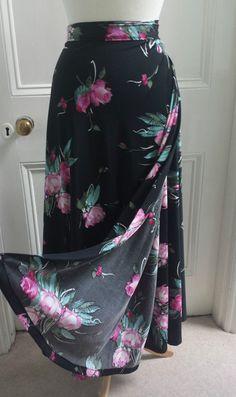 Vtg 70s Floral Wrap Around Maxi Skirt Bohemian Hippie Boho Ethnic Gypsy 12 14 16