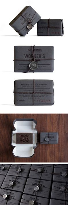 Deep grey wrapping paper, black twine and a small stamped medallion make this Hudson Made Workers Soap ultra-masculine and sophisticated. Created by Hovard Design, Brooklyn.