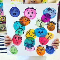kindergarten has created my new favorite art project ever. I'm obsessed with the color and personality in these pieces made by her young… Classroom Art Projects, School Art Projects, Art Classroom, Collaborative Art Projects For Kids, Art Club Projects, Kindergarten Art Lessons, Art Lessons Elementary, Elementary Art Education, Dot Day