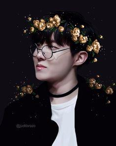 Jhope, our hope, our sunshine had to wear gold yellow flowers  #bts#bangtan#bangtanboys#bighit#jhope#hoseok#fanart#fan art#bts fan art#jhope fan art#jimin#chimchim#taehyung#v#namjoon#rap monster#jin#jungkook#suga#yoongi#art#digital art