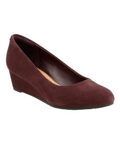 Another great find on #zulily! Aubergine Vendra Bloom Suede Wedge #zulilyfinds