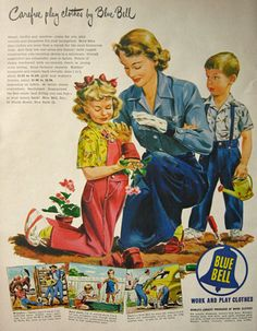 1949 Blue Bell Work and Play Clothes Nice Art Drawing or Puerto Rican Rum Original Vintage Advertisement Vintage Jeans, Vintage Ladies, Vintage Outfits, Vintage Clothing, Vintage Prints, Vintage Posters, Bell Work, Vintage Country, Vintage Advertisements