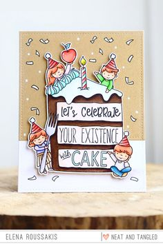 piece of cake! (Neat and Tangled release week) Birthday Cake Card, Neat And Tangled, Simon Says, Piece Of Cakes, Lets Celebrate, Eat Cake, Let It Be, Creative, Illustration