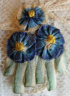 Circa 1920s Dainty Blue French Ombre Ribbonwork Forget Me Not Applique New Old Store Stock