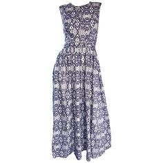 New Zimmermann Grey Lilac and White Ikat Print Chic Cotton Maxi Dress  | From a collection of rare vintage day dresses at https://www.1stdibs.com/fashion/clothing/day-dresses/