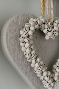 Shabby white hearts, crafted