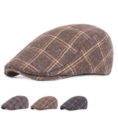 6b954ddf65265 Mens Womens Winter Woolen Plaid Painter Beret Caps Outdor Adjustable Peaked  Cap Army Hat