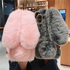 Fluffy Rabbit Cute Silicone Bunny Plush Cover For Huawei Pro Honor View 30 20 10 9 Lite Prime 2018 2019 Case-In Fitted Cases From Cellphones & Telecommunications Girly Phone Cases, Diy Phone Case, Iphone Case Covers, Fluffy Rabbit, Rabbit Ears, Bunny Plush, Cute Plush, Indie, Fur