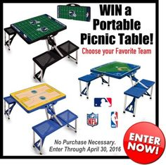 Win a Portable Picnic Table (NFL, MLB, or NBA) valued at $140! http://virl.io/NthDteIm<<<<ENTER HERE