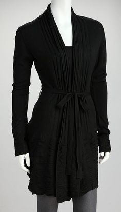 Black Accordion-Knit Tie-Waist Cardigan