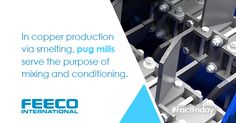 In #copper production via #smelting, pug mills serve the purpose of mixing and conditioning. #pugmill #paddlemixer