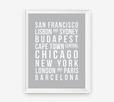Personalized Destinations Print Travel art by loopzart