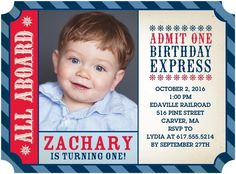 Birthday Express - Birthday Party Invitations - Hello Little One - Sea Blue - Blue : Front Thomas Birthday Parties, First Birthday Themes, Happy 2nd Birthday, Boy Birthday, First Birthdays, Birthday Ideas, Business Christmas Cards, Train Party, Birthday Party Invitations
