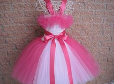 CANDY PINK with WHITE. Tutu Dress. Birthday Dress. by ElsaSieron