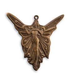 Vintaj - Natural Brass -30x30mm Art Deco Angel - Scraps of Darkness and Scraps of Elegance.  Perfect for Steampunk and Mixed Media projects!  Also would work great as a fairy on any scrapbook layout.
