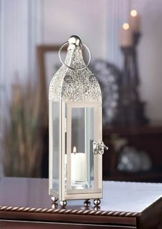6 Stunning Ornate Carved Details at Top Candle Lanterns Wedding Centerpiece