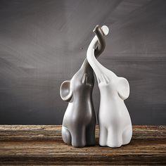 Purelifestyle, 2-er Set Verliebte Elefanten Skulptur